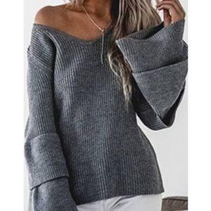 MAYLENE Bell Sleeve Sweater Top - CHARCOAL